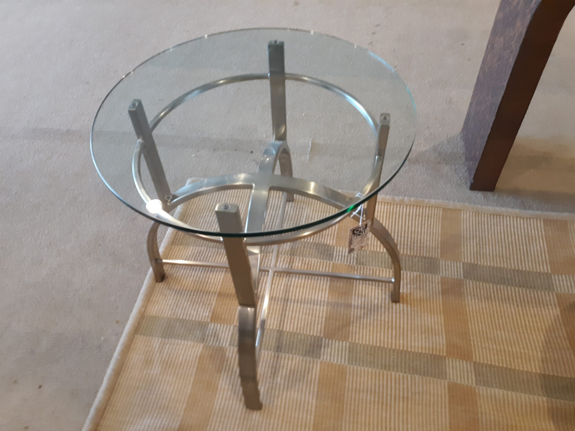 Picture of: Contemporay Chrome Side Table With Glass Top Out Of The Box