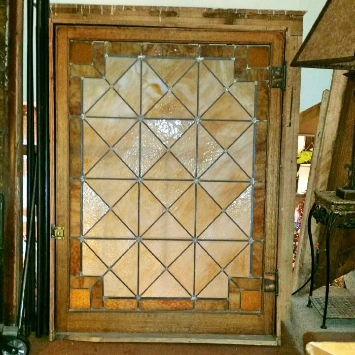 Mission style leaded glass window