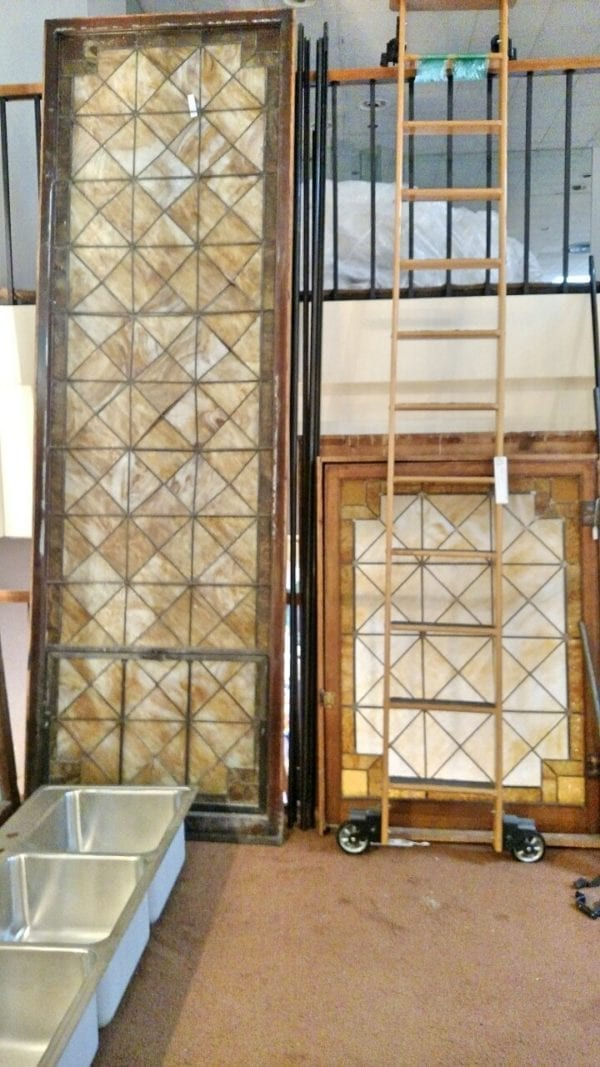 Mission style leaded glass windows