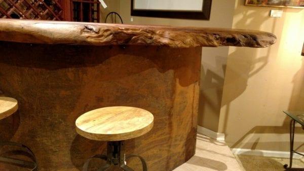 Nakashima Style Natural Burl Wood Bar