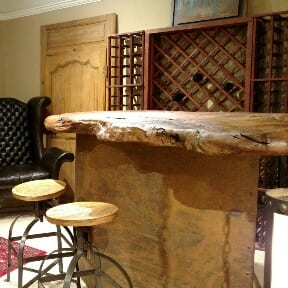 Nakashima Style Natural Burl Wood Bar